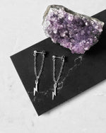 LIGHTNING BOLT CHAIN STUD EARRINGS- Sterling Silver