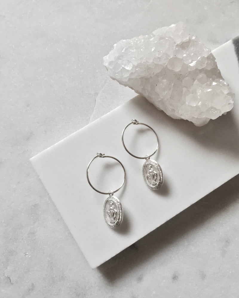 MIRACULOUS MEDAL EARRINGS- Sterling Silver
