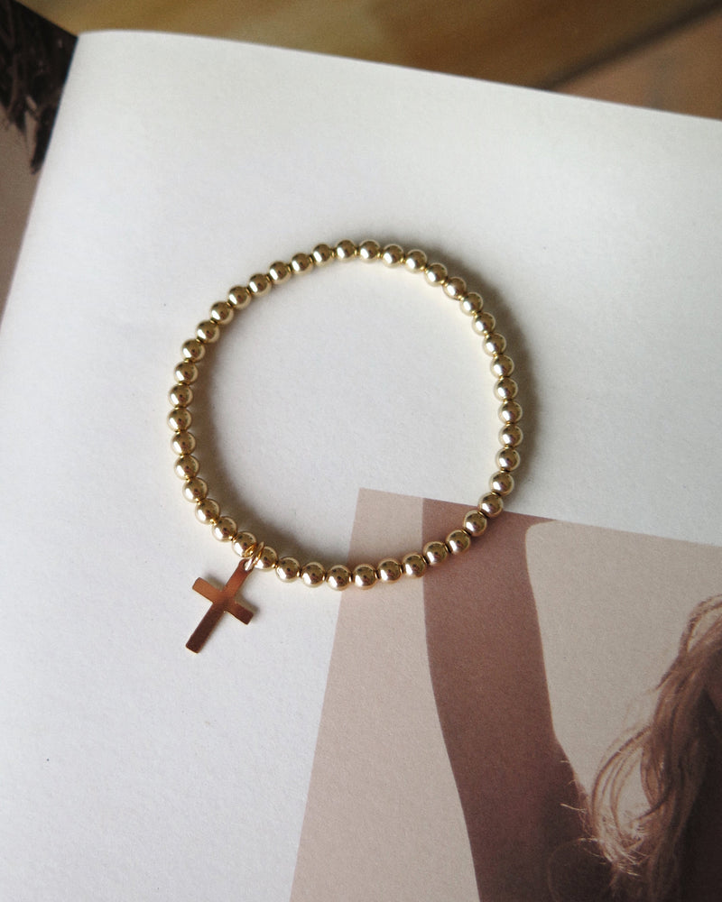 CROSS BEADED BRACELET- 14k Yellow Gold