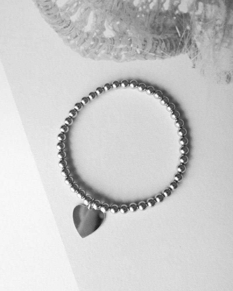 HEART BEADED BRACELET- Sterling Silver