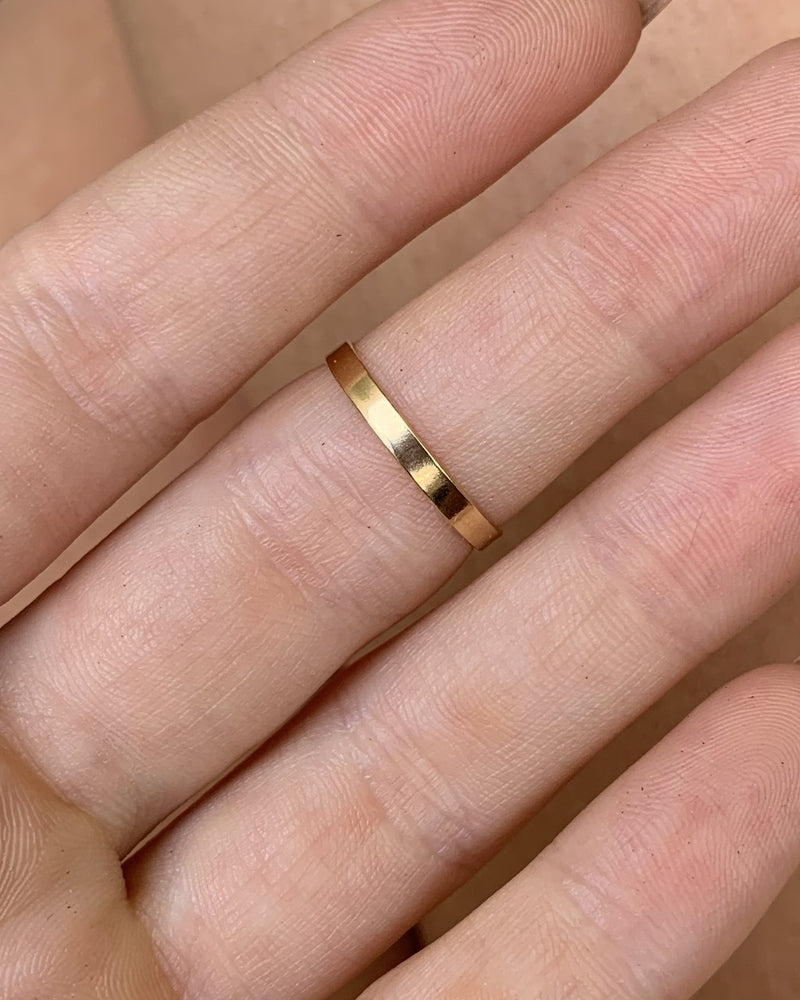THICK BAR RING- 14k Yellow Gold