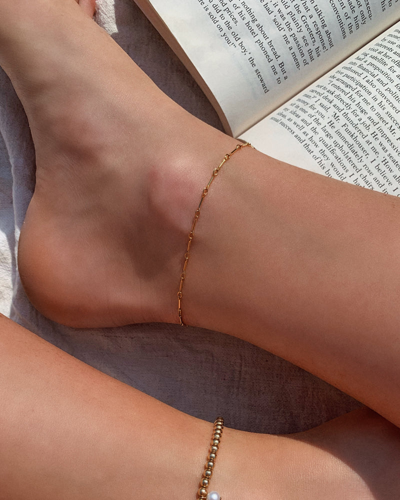 BAR CHAIN ANKLET- 14k Yellow Gold