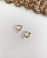 THICK FRESHWATER PEARL HOOP EARRINGS- 14k Yellow Gold