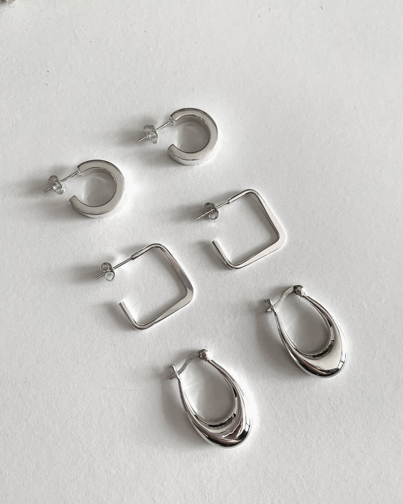SQUARE THICK HOOP EARRINGS- Sterling Silver