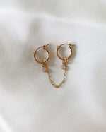 DOUBLE PIERCING CZ HOOP EARRINGS- 14k Yellow Gold