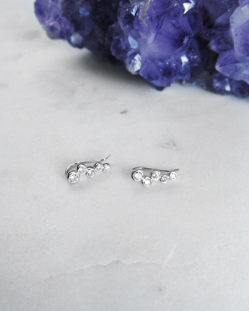 CZ SATELLITE EARRINGS- Sterling Silver