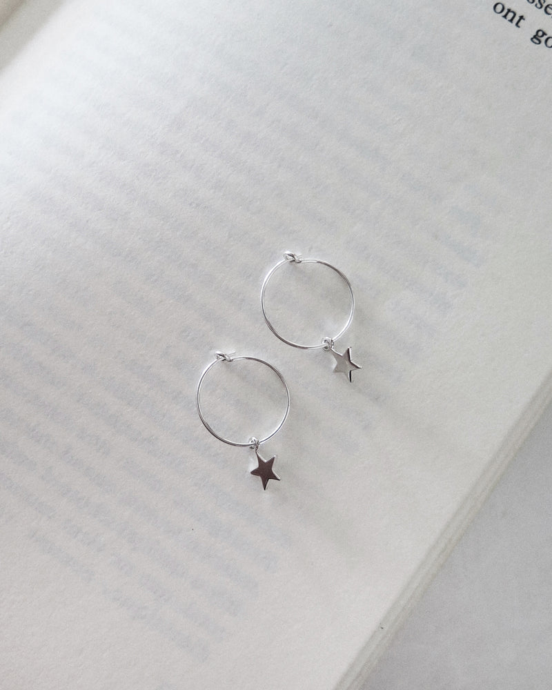 STAR HOOP EARRINGS- Sterling Silver