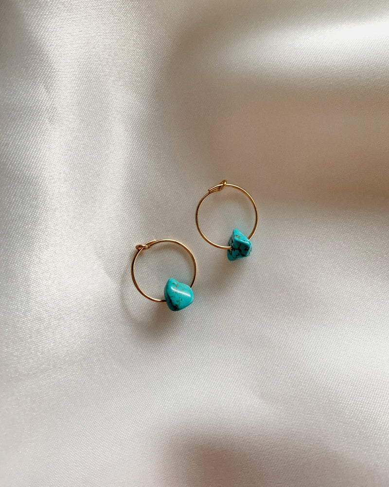 TURQUOISE HOOP EARRINGS- 14k Gold