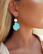 TURQUOISE COIN EARRINGS- 14k Gold