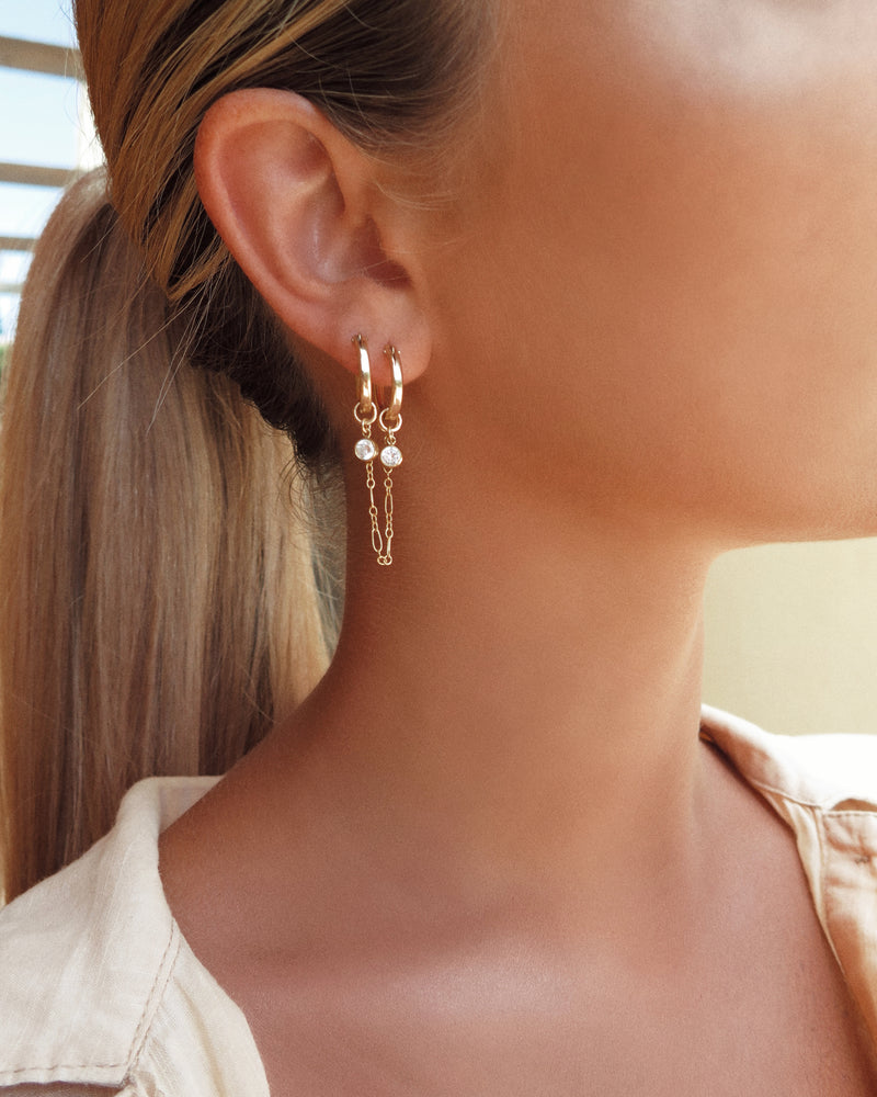 DOUBLE PIERCING CZ HOOP EARRINGS