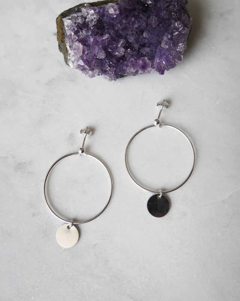 LARGE CIRCLE COIN EARRINGS- Sterling Silver