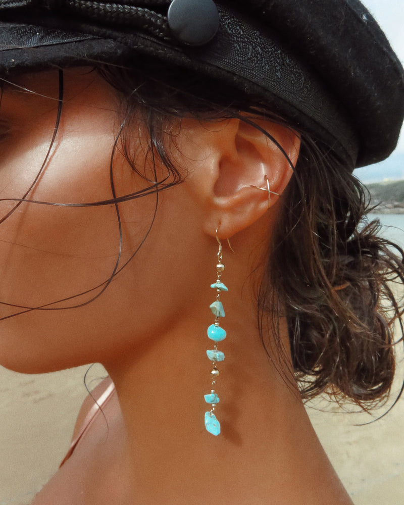 TURQUOISE WATERFALL EARRINGS- 14k Yellow Gold