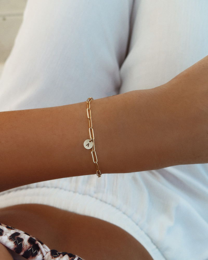THICK DRAWN CABLE LETTER BRACELET- 14k Yellow Gold