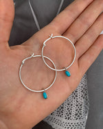 TURQUOISE THICK HOOP EARRINGS- Sterling Silver