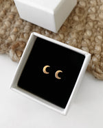 MOON STUD EARRINGS- 14k Yellow Gold