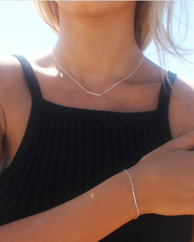 THIN BAR NECKLACE- Sterling Silver