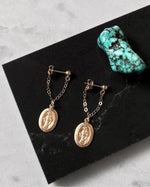 MIRACULOUS MEDAL CHAIN STUD EARRINGS- 14k Yellow Gold