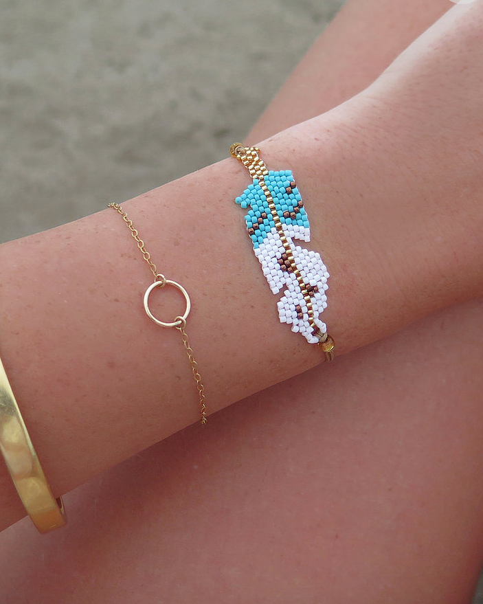 FEATHER BEADED BRACELET- Blue