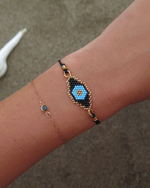 EVIL EYE BEADED BRACELET- Black