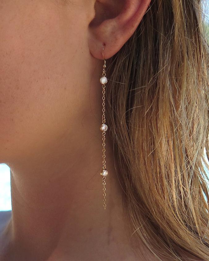 TRIPLE CZ DROP EARRINGS- 14k Yellow Gold