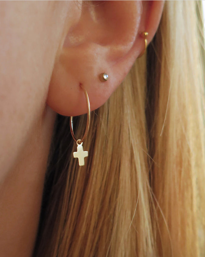 SMALL CROSS EARRINGS- 14k Yellow Gold