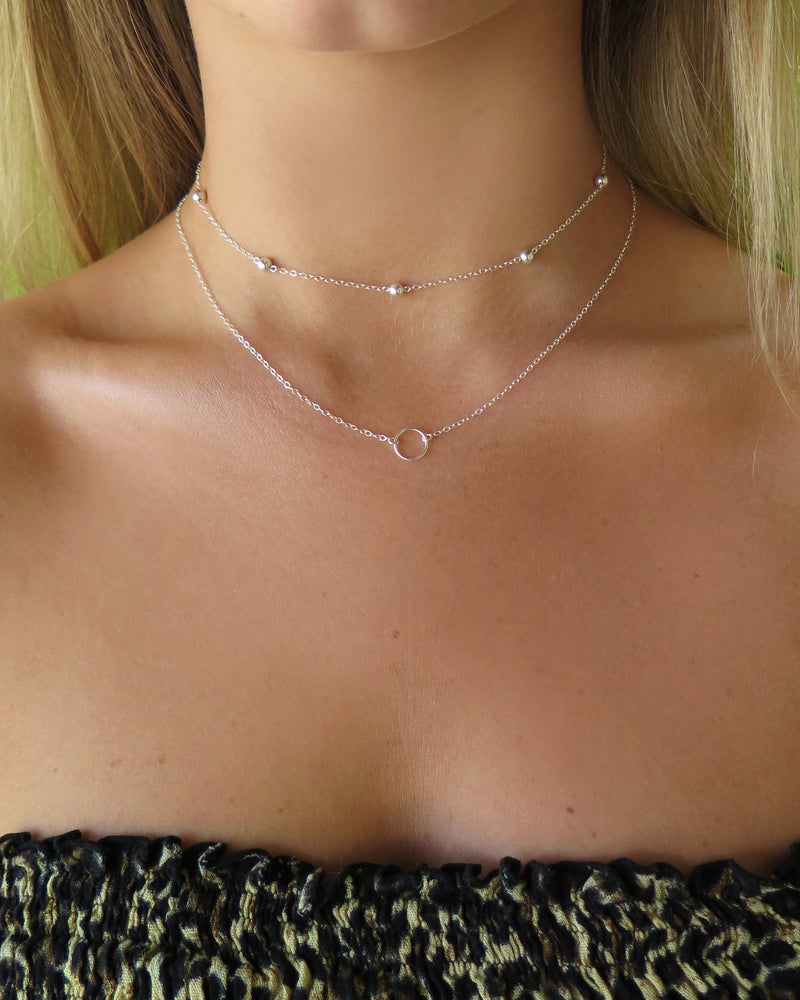 FIVE BEAD NECKLACE- Sterling Silver