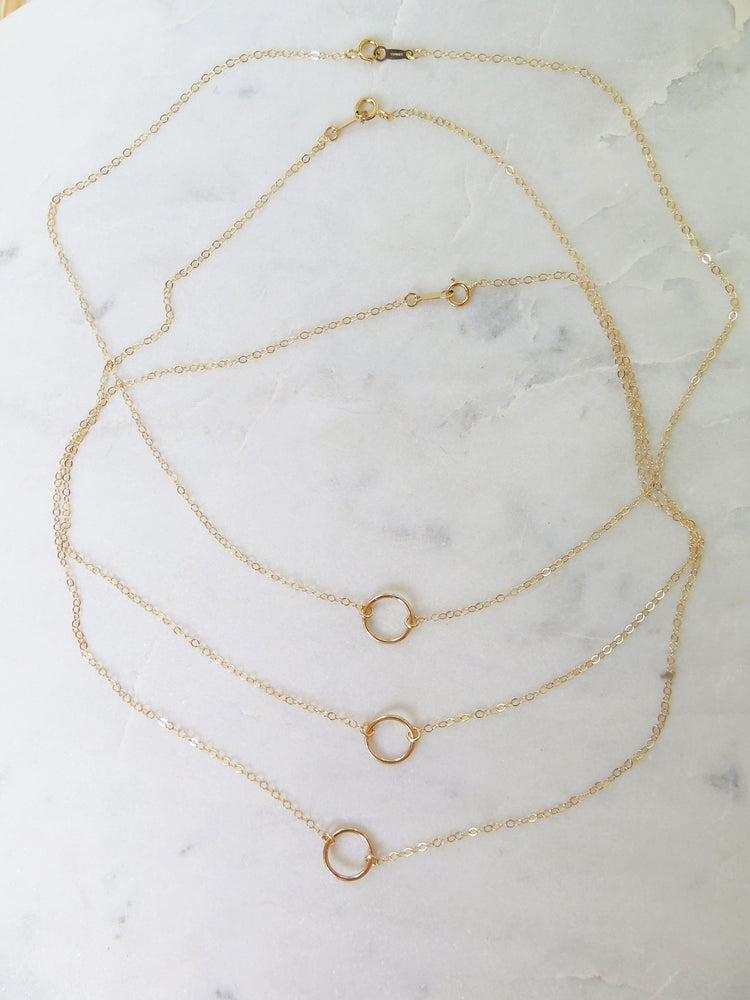 CIRCLE NECKLACE- 14k Yellow Gold
