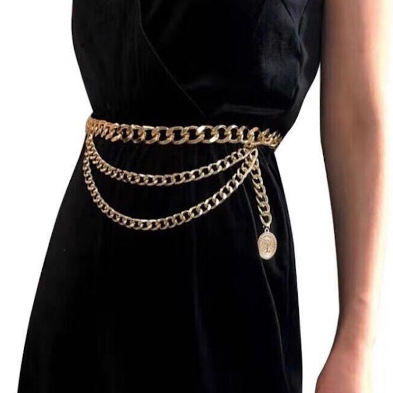 Coin Layered Chain Belt