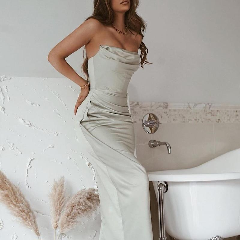 Sabina Satin Maxi Dress