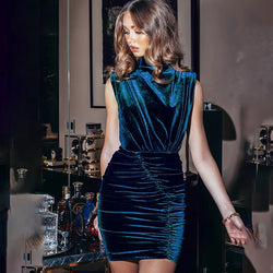 Lima High Neck Velvet Dress