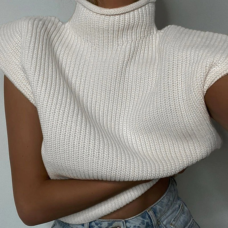 Romi Padded Shoulder Knitted Vest Top