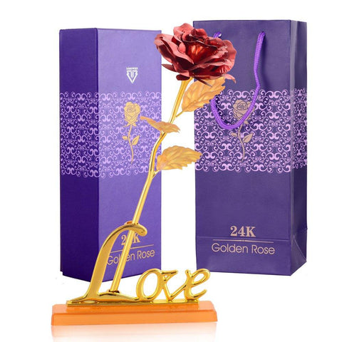 Golden Rose with Love Stand Australia Delivery - Buy your 24k Gold Rose Online today and impress your lover