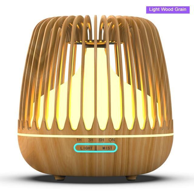 YAJIAO Rechargeable Wood Grain Air Humidifier Aroma Diffuser Essential Oil LED Lights - Smart Sales Australia