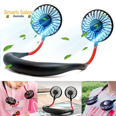 Hands Free Hanging Neck Fan with LED Lighting & Aromatherapy Pads - Smart Sales Australia