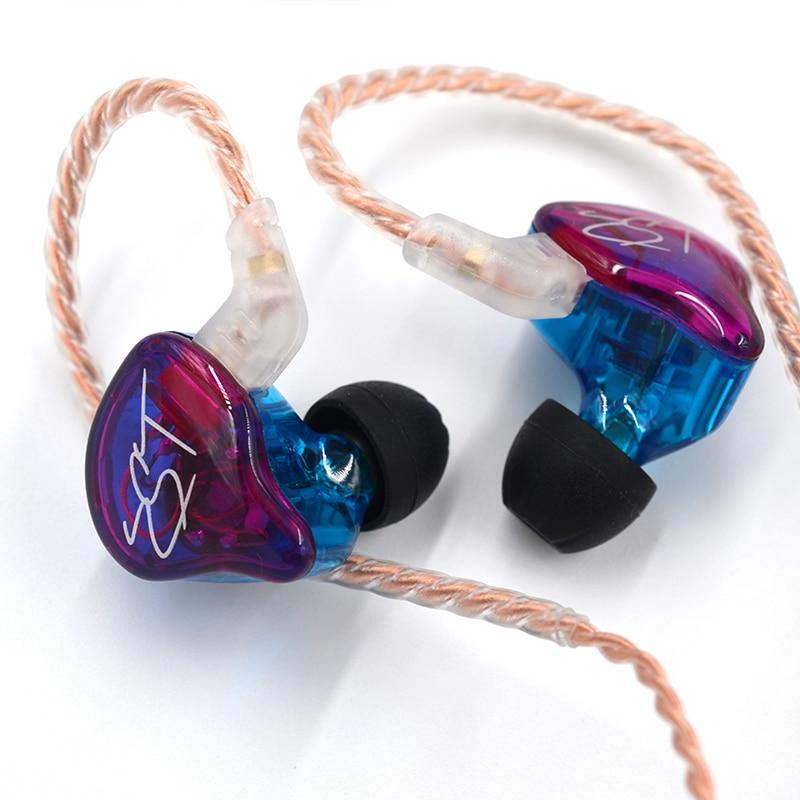 Purple KZ ZST Removable Cable Earphones Noise Proof High Quality Sound Music - Smart Sales Australia