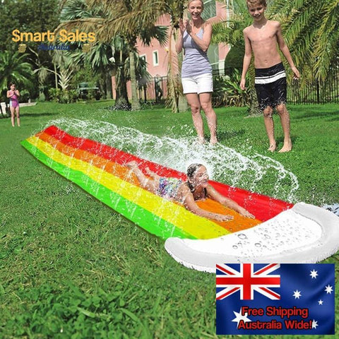 Kids & Adults Inflatable Automatic Sprinkler Rainbow Water Slide Backyard Outdoor Toy 4.8 Metres - Smart Sales Australia