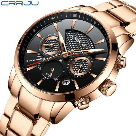 Men's Waterproof Luxury Steel Watch with Calendar