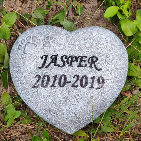 Heart Formed Paw Print Remembrance Memento Stone