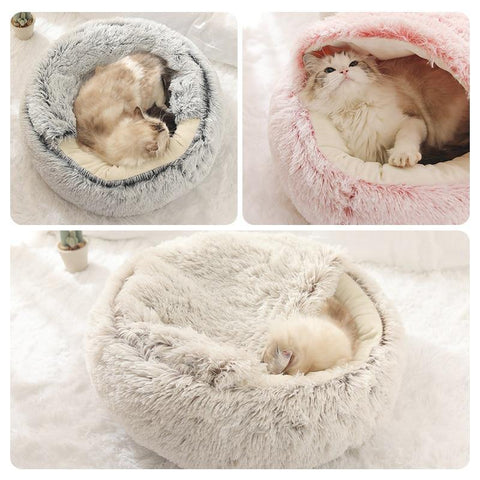 Round Plush Cottony Bed for Small Cats and Dogs