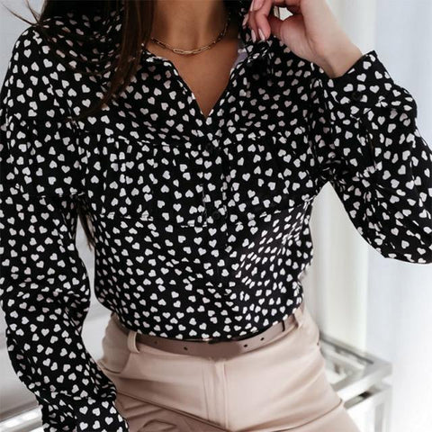Tousled Printed Long-Sleeve Blouse Dotted Design For Women - Smart Sales Australia