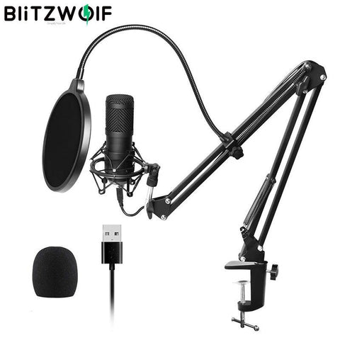 BlitzWolf BW-CM2 Condenser Microphone  Audio Dynamic System Kit Cantilever Bracket Anti-spray Net Set Sound Record - Smart Sales Australia
