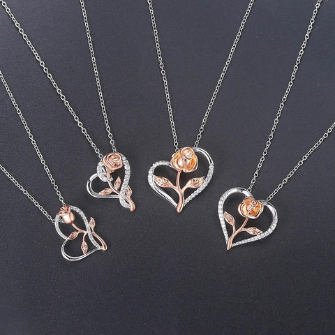 Latest Flower Heart Fashion Necklace Gift For Women With Box - Smart Sales Australia