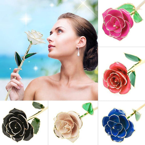 Classy Artificial Rose Everlasting Flower Dipped in 24K Gold Gift for Women - Smart Sales Australia