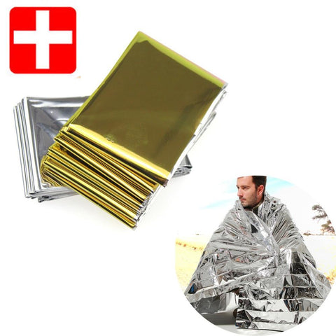 Camping Portable Emergency Blanket First Aid Survival Rescue Curtain Tent Tools Outdoor Hiking Kits Silver Golden 210*130cm 50g - You can buy this awesome product from Smart Sales Australia!