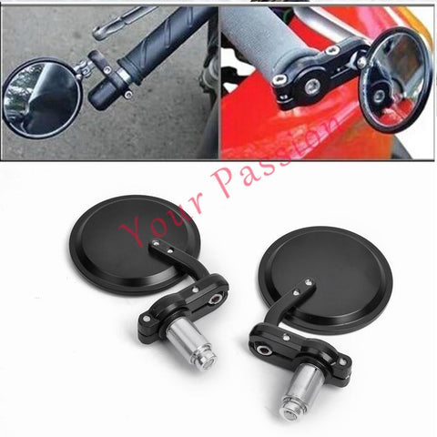 "Universal Motorcycle Motorbike 3"" Round 7/8"" Handle Bar Mirrors Cafe Racer Bobber For Harley Honda Suzuki - You can buy this awesome product from Smart Sales Australia!"