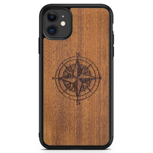 Real Engraved Wood Phone Case with Compass design for iPhone 11 in Black Colour made from Mahogany wood