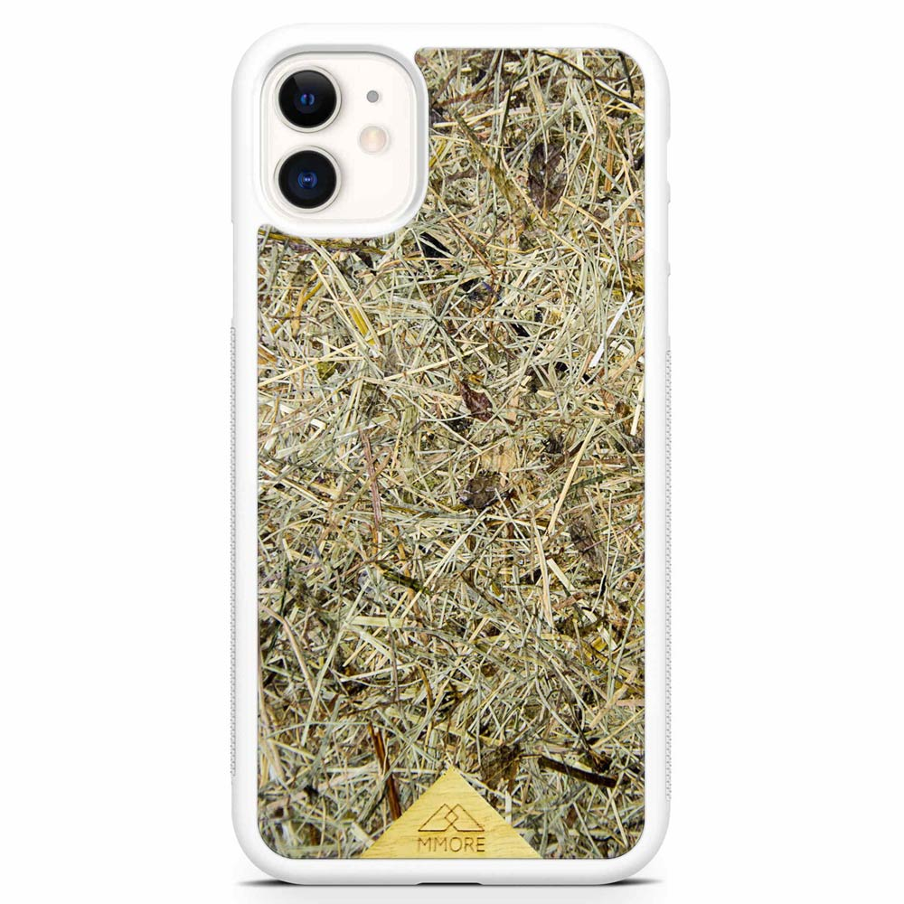 Scented Aromatic Eco-Friendly Sustainable Recyclable Handmade Organic phone case for iPhone 11 in White Colour made of real hand-picked dried and pressed natural Alpine Hay