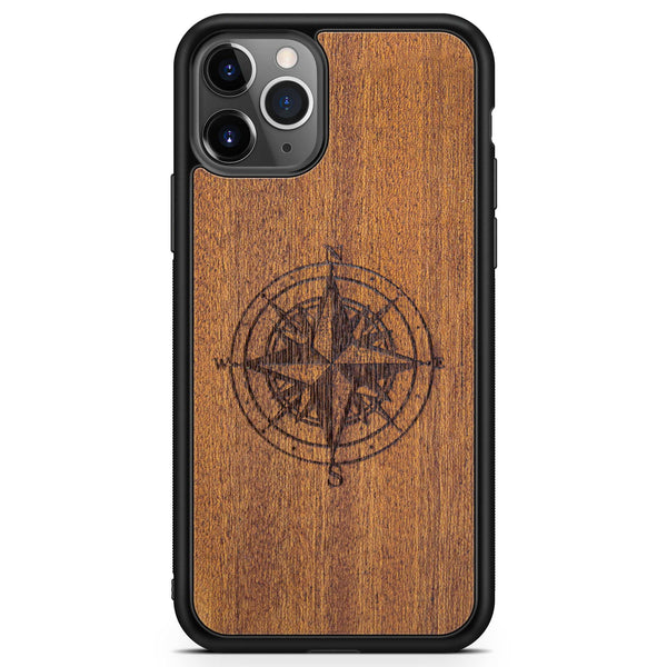 Real Engraved Wood Phone Case with Compass design for iPhone 11 PRO iPhone 11 PRO MAX in Black Colour made from Mahogany wood