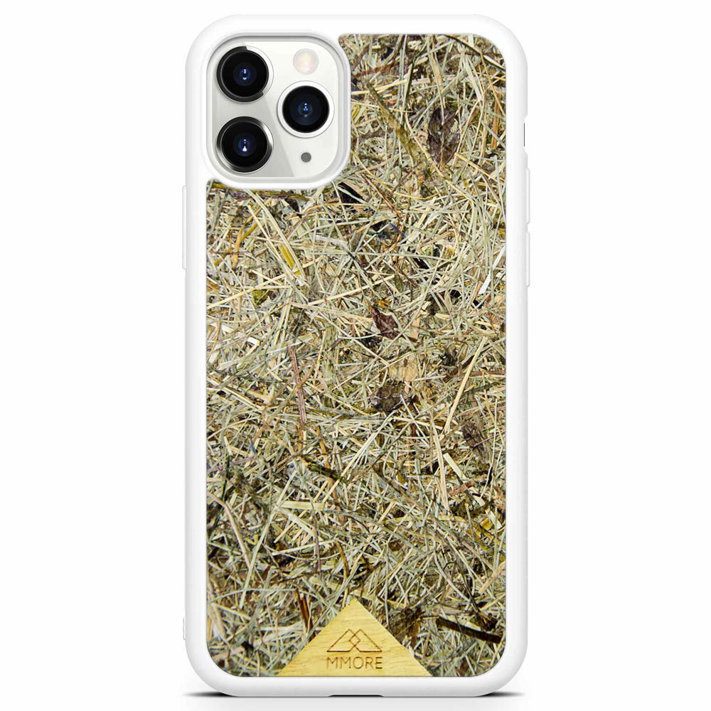 Scented Aromatic Eco-Friendly Sustainable Recyclable Handmade Organic phone case for iPhone 11 PRO iPhone 11 PRO MAX in White Colour made of real hand-picked dried and pressed natural Alpine Hay