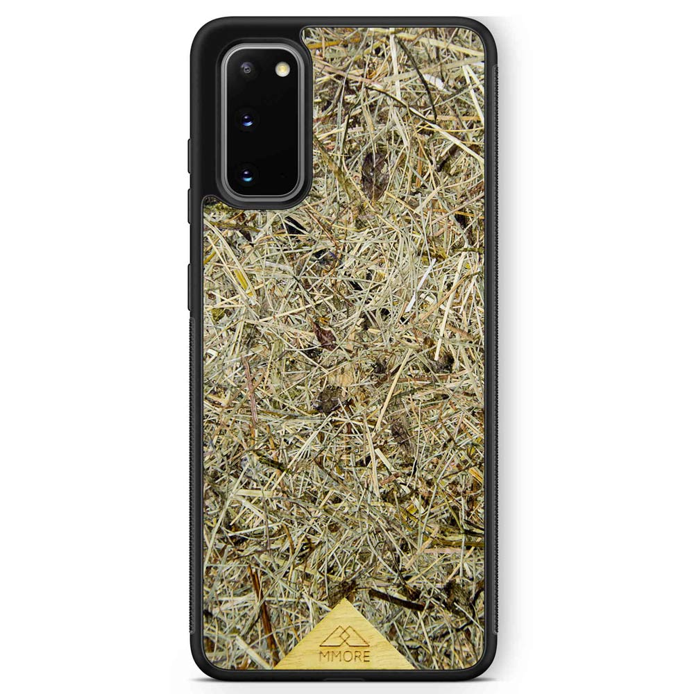 Scented Aromatic Eco-Friendly Sustainable Recyclable Handmade Organic phone case for Samsung Galaxy S20 Samsung Galaxy S20 Plus in Black Colour made of real hand-picked dried and pressed natural Alpine Hay